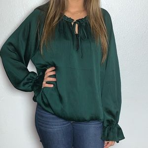 H&M Conscious Emerald Green Bishop Sleeve Blouse
